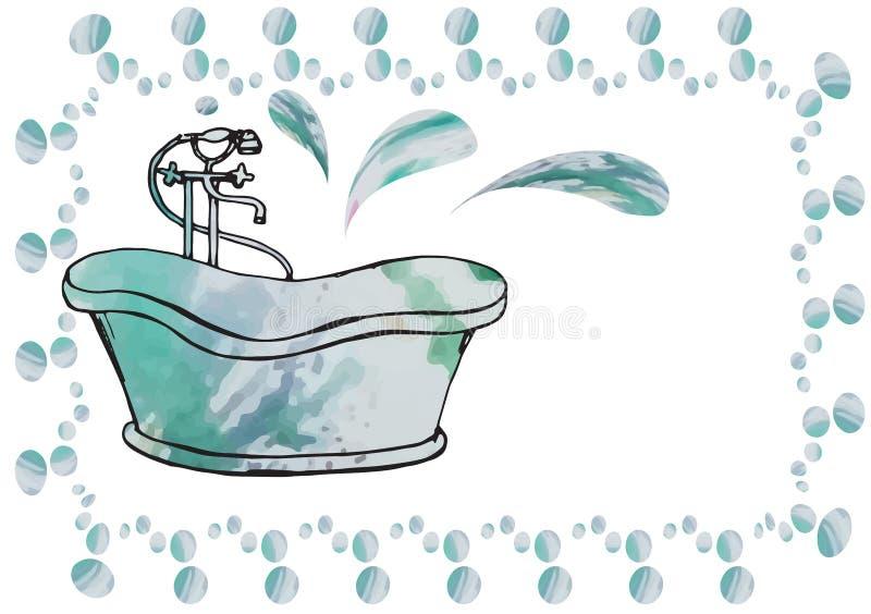 Postkarte malte antikes Bad mit dem Bodenmischer, unvorsichtig gezeichnet vektor abbildung