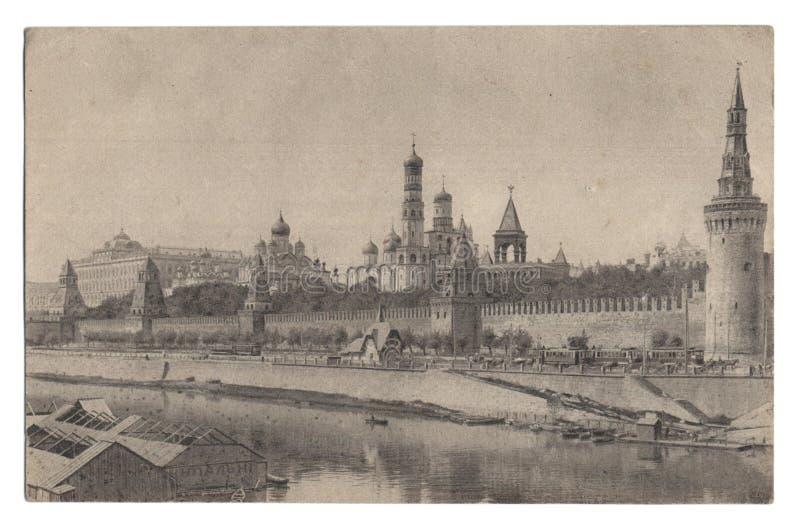 Postkarte mit Bild des Kremlin-und Kremlin-Palastes lizenzfreie stockbilder