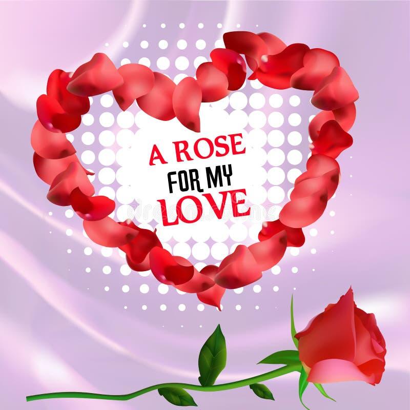 Postkarte mit den Rotrosen- und -herzblumenblättern auf silk Hintergrund stock abbildung