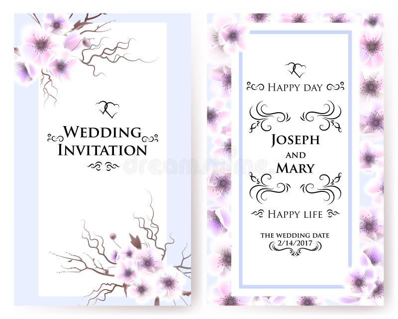Postkarte mit empfindlichen Blumenanemonen Hochzeitseinladung, danke, speichern die Datumskarten, Menü, Flieger, Fahne vektor abbildung