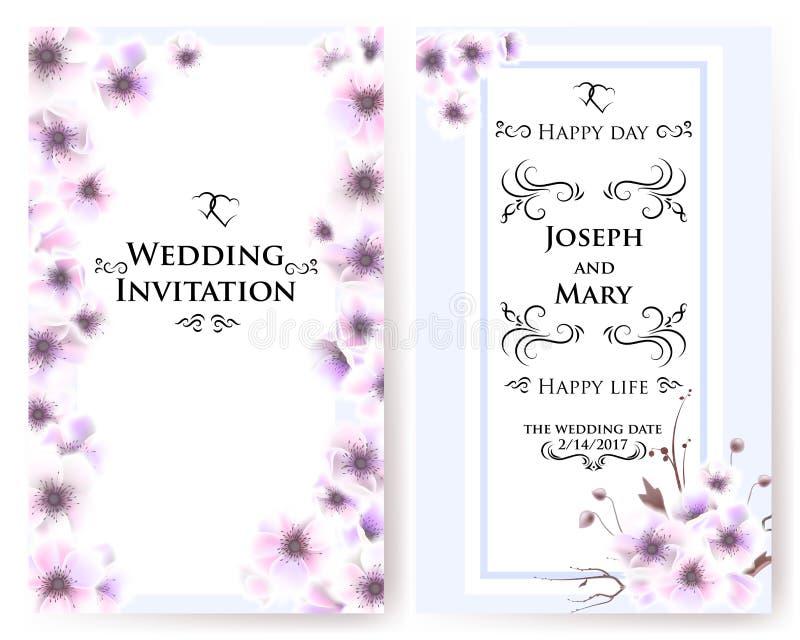 Postkarte mit empfindlichen Blumenanemonen Hochzeitseinladung, danke zu kardieren, speichern die Datumskarten, Menü, Flieger, Fah vektor abbildung