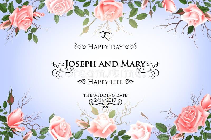 Postkarte mit empfindlichen Blumenrosen Hochzeitseinladung, danke, speichern die Datumskarten, Menü, Flieger, Fahnenschablone stock abbildung