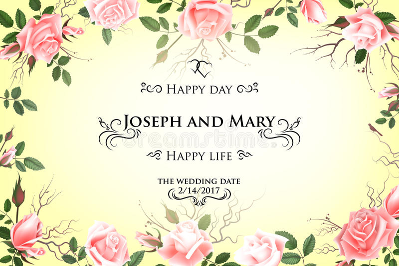 Postkarte mit empfindlichen Blumenrosen Hochzeitseinladung, danke, speichern die Datumskarten, Menü, Flieger, Fahnenschablone lizenzfreie abbildung
