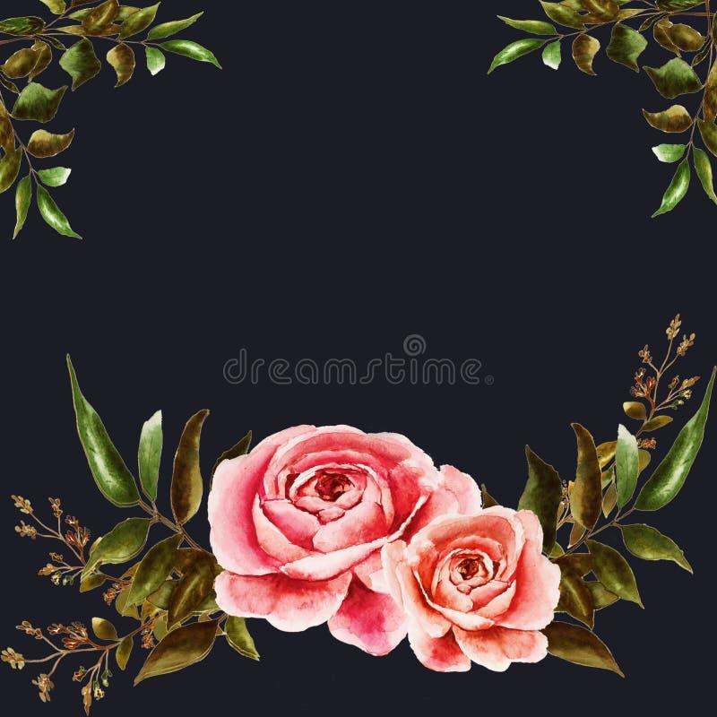 Postkarte mit Rosen lizenzfreie abbildung