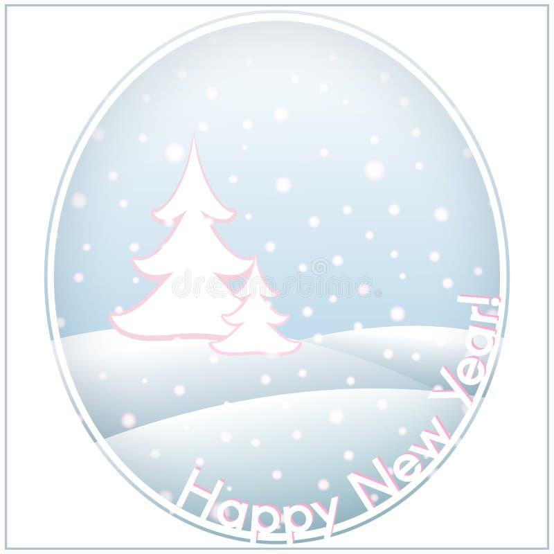 Postkarte mit Text guten Rutsch ins Neue Jahr-und Weihnachtsschablone backgr lizenzfreie abbildung
