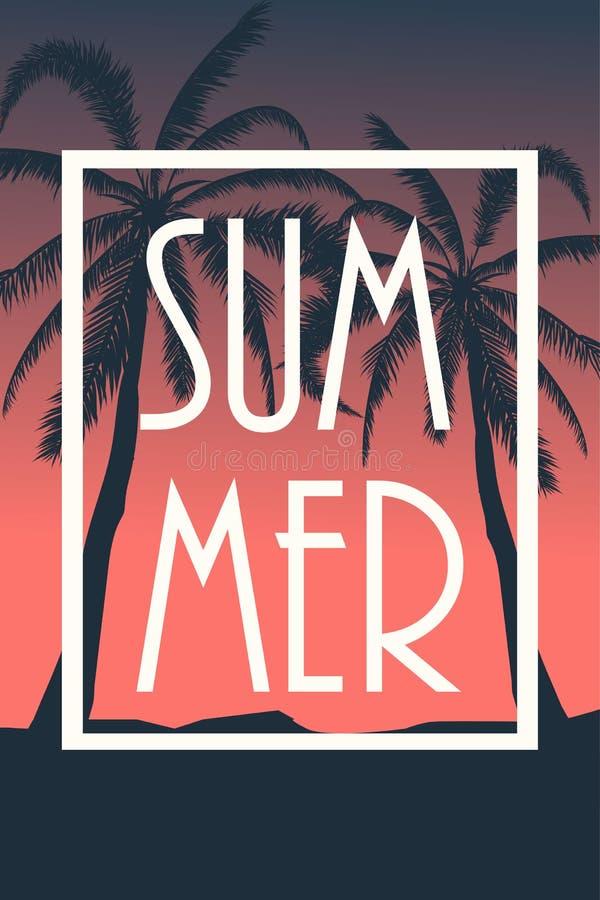 Postkarte mit tropischem Landschaftsommerhintergrund Palmeschattenbild Auch im corel abgehobenen Betrag vektor abbildung