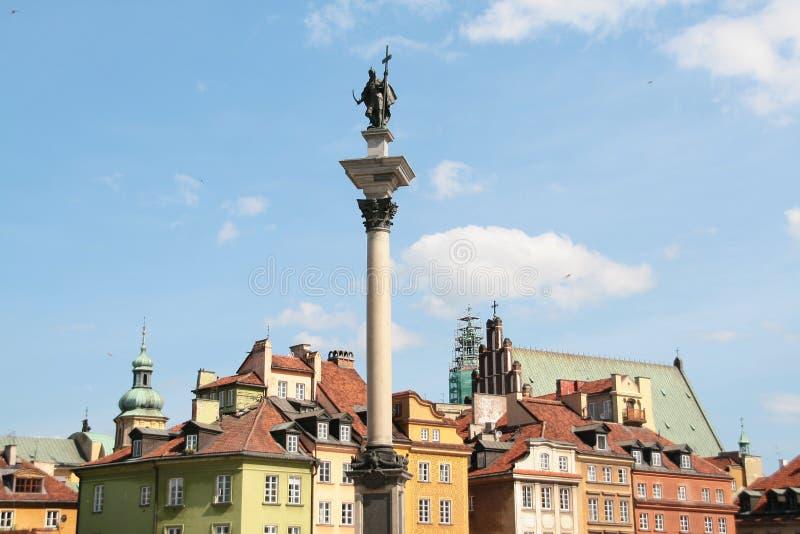 Postkarte mit Warschau in Polen lizenzfreie stockfotos