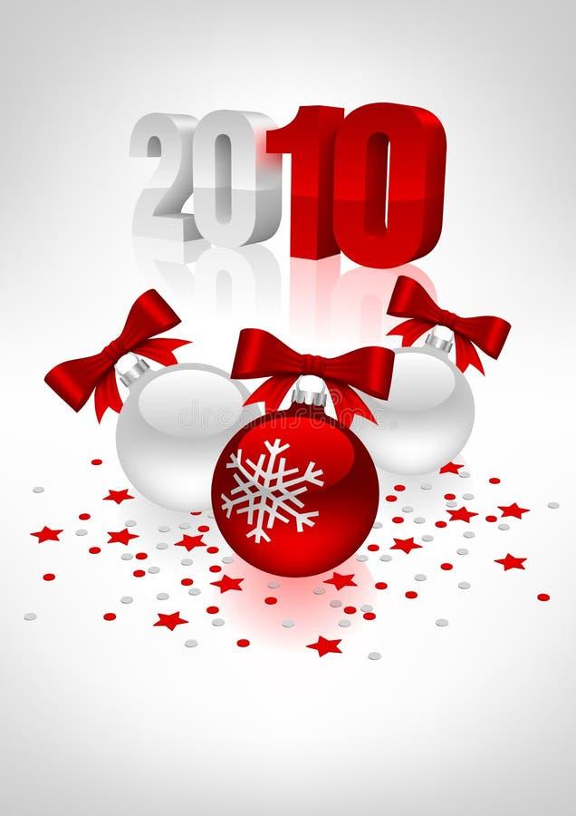 Postkarte mit Weihnachtskugeln vektor abbildung