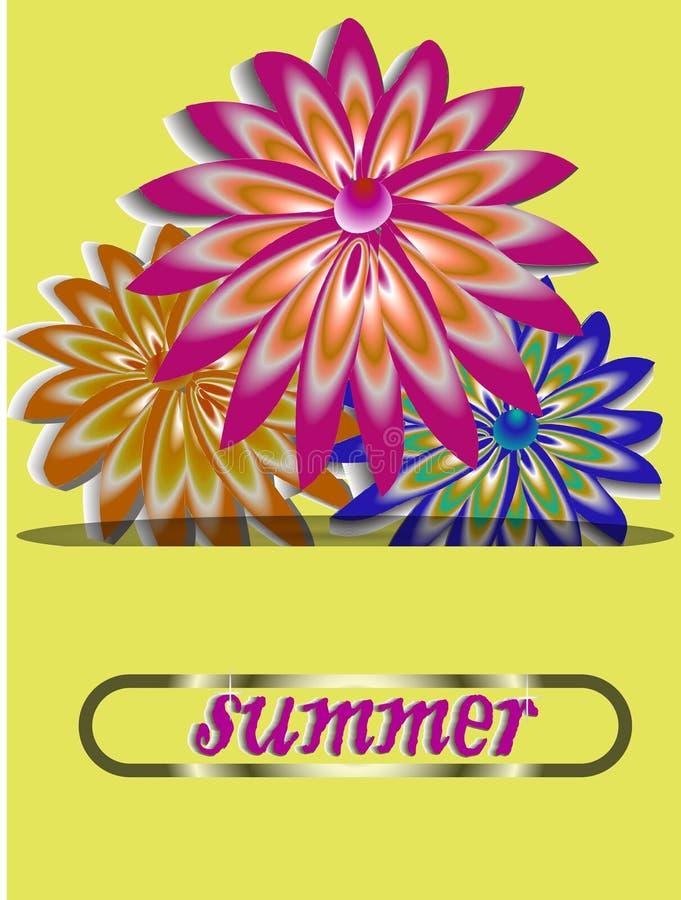 Postkarte von den Blumen als Geschenk für irgendein Datum Regenbogen und Wolke auf dem blauen Himmel lizenzfreie stockfotos