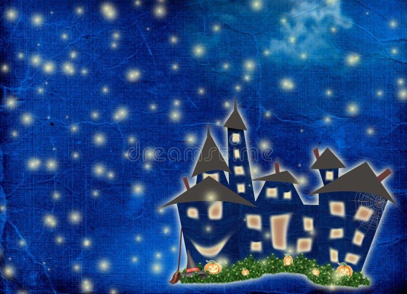 Postkartefeiertag mit Schloss und Kürbis stockbild