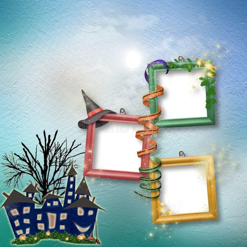 Postkartefeiertag mit Schloss und Kürbis lizenzfreie abbildung