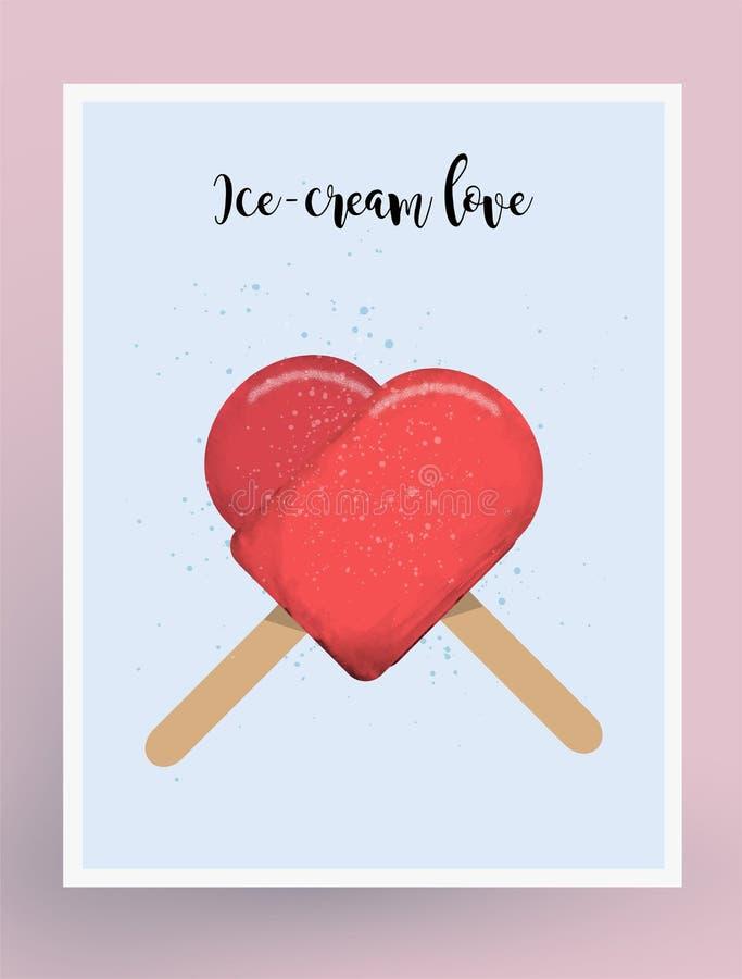 Postkarten-Design-Eiscreme-Liebe Liebe themenorientiert Eislutscher Auch im corel abgehobenen Betrag vektor abbildung