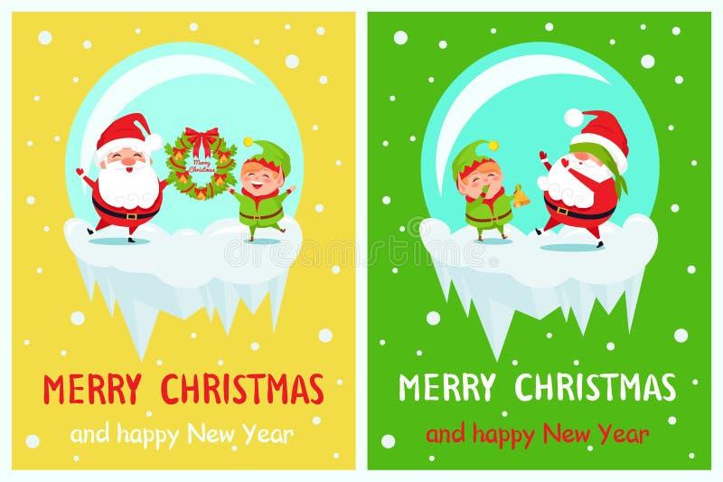 Postkarten-frohe Weihnacht-guten Rutsch ins Neue Jahr Santa Elf lizenzfreie abbildung