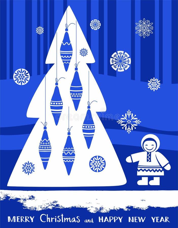 Postkarten-frohe Weihnachten und guten Rutsch ins Neue Jahr, Nord-, blauer Hintergrund vektor abbildung
