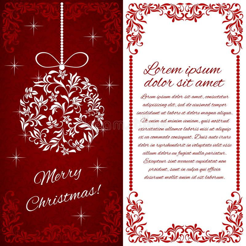 Postkarten-frohe Weihnachten! Weihnachtsglocke von einer Blumenverzierung lizenzfreie abbildung