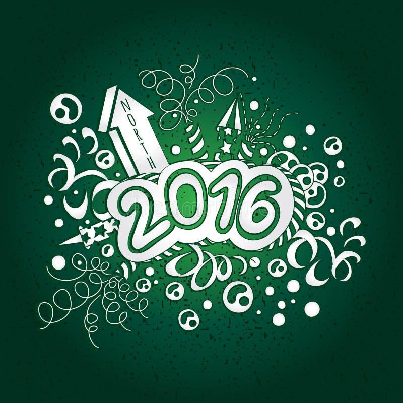 Postkarten-guten Rutsch ins Neue Jahr und frohe Weihnachten 2016 stock abbildung