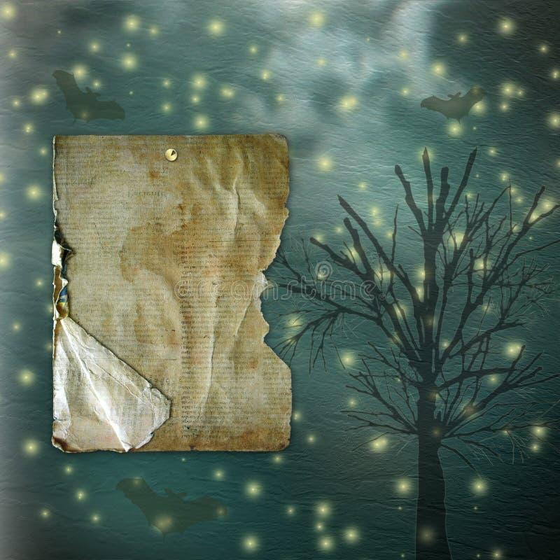 Postkartenhalloween-Feiertag mit Bäumen vektor abbildung