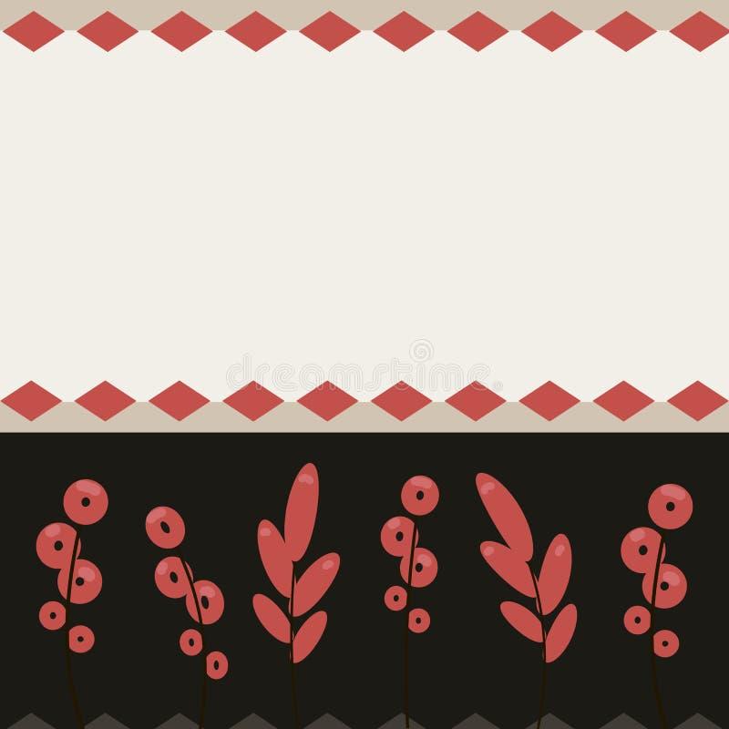 Postkartenhintergrund mit Postkartenfeiertags-Glückwunschdesign der roten Rautenmustervolkblumenreedstreifen hellem rote Farb lizenzfreie abbildung