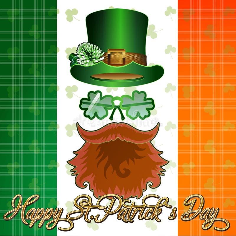 Postkartenplakat oder -fahne für St Patrick sDay lizenzfreie abbildung
