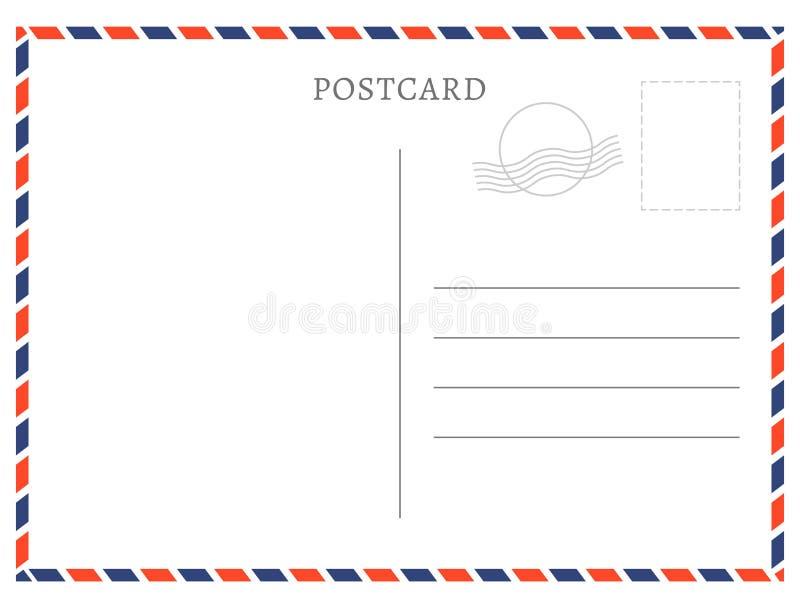 Postkartenschablonenpapier-Weißbeschaffenheit Vector leeren Poststempel der Postkarte und Gestaltung der Werbebotschaft vektor abbildung