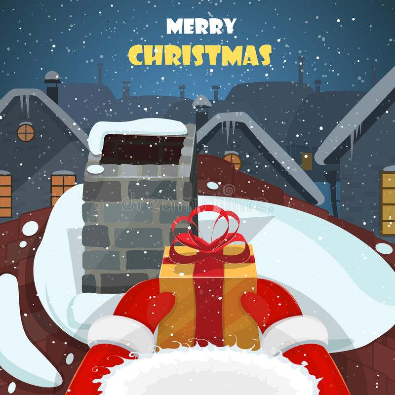 Postkartenvektorillustration der frohen Weihnachten stock abbildung