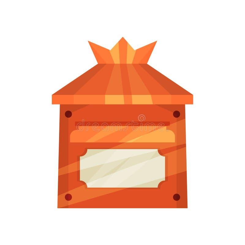 Postkasten der kleinen Leuchtorange für Post An der Wand befestigter Briefkasten der Karikatur Metall Flacher Vektor für Kinderbu vektor abbildung