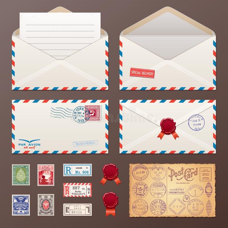 Postkuvert, klistermärkear, stämplar, vykort royaltyfri illustrationer