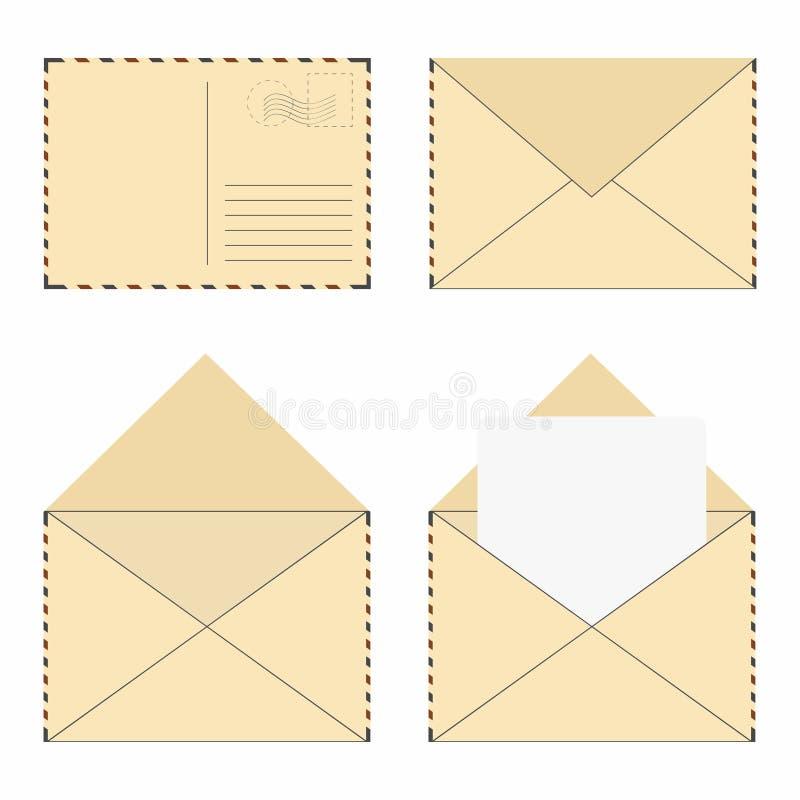Postkuvertuppsättning Tappningpostkuvert med stämplar och den tomma bokstaven vektor illustrationer