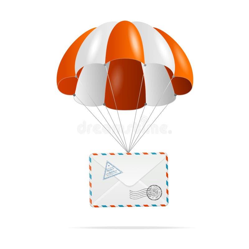 Postleverans. Hoppa fallskärm. vektor illustrationer
