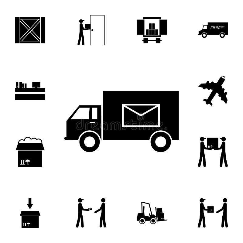 postmachinepictogram Gedetailleerde reeks logistische pictogrammen Grafisch het ontwerppictogram van de premiekwaliteit Één van d stock illustratie