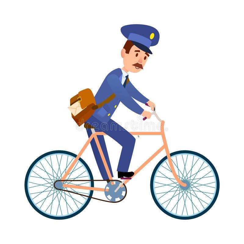 Postman on Bike Delivering Mail Cartoon Vector. Postman cartoon character in blue uniform delivering letter flat vector illustration isolated on white background stock illustration