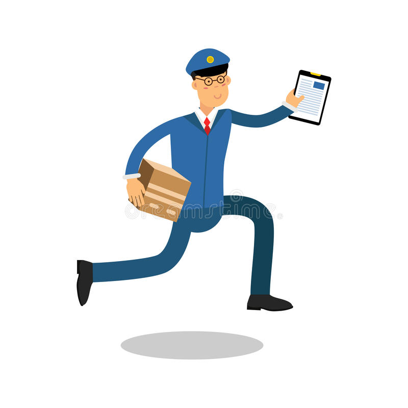 Postman in blue uniform with clipboard running delivering parcel cartoon character, express delivery mail vector. Illustration isolated on a white background stock illustration