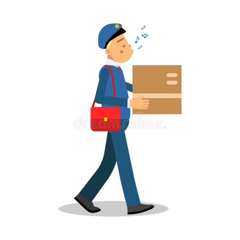 Postman in blue uniform delivering cardboard box and whistling melody cartoon character, express delivery mail vector vector illustration