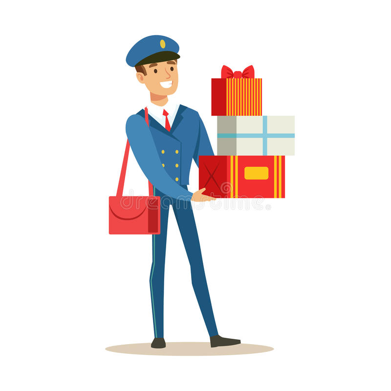 Postman In Blue Uniform Delivering Holiday Gifts And Mail, Fulfilling Mailman Duties With A Smile. Guy In Post Courier Job Happy With His Profession Vector vector illustration