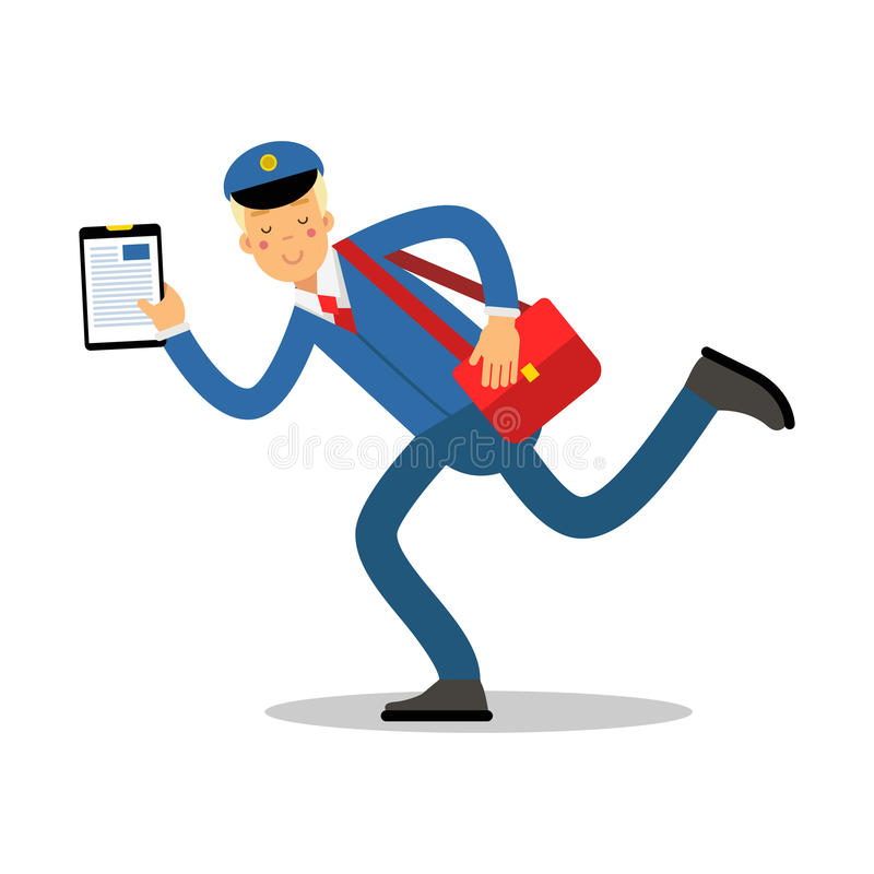 Postman in blue uniform with red bag and clipboard running cartoon character, express delivery mail vector Illustration stock illustration