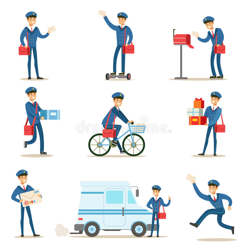 Postman In Blue Uniform With Red Bag Delivering Mail And Other Packages, Fulfilling Mailman Duties With A Smile Set Of. Illustrations. Guy In Post Courier Job royalty free illustration