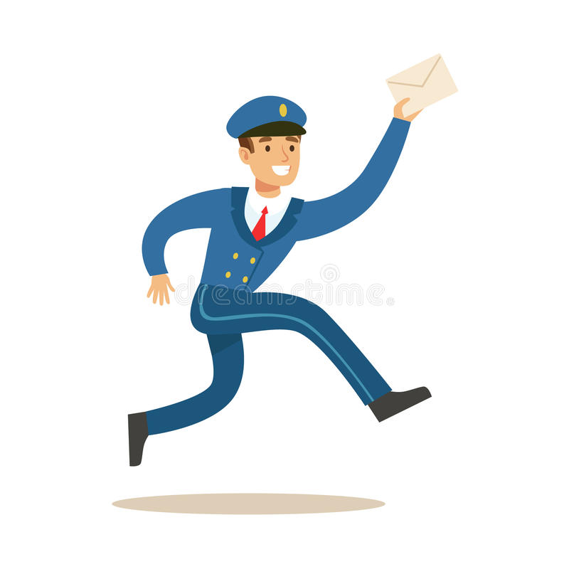 Postman In Blue Uniform Running Delivering Mail, Fulfilling Mailman Duties With A Smile. Guy In Post Courier Job Happy With His Profession Vector Cartoon vector illustration
