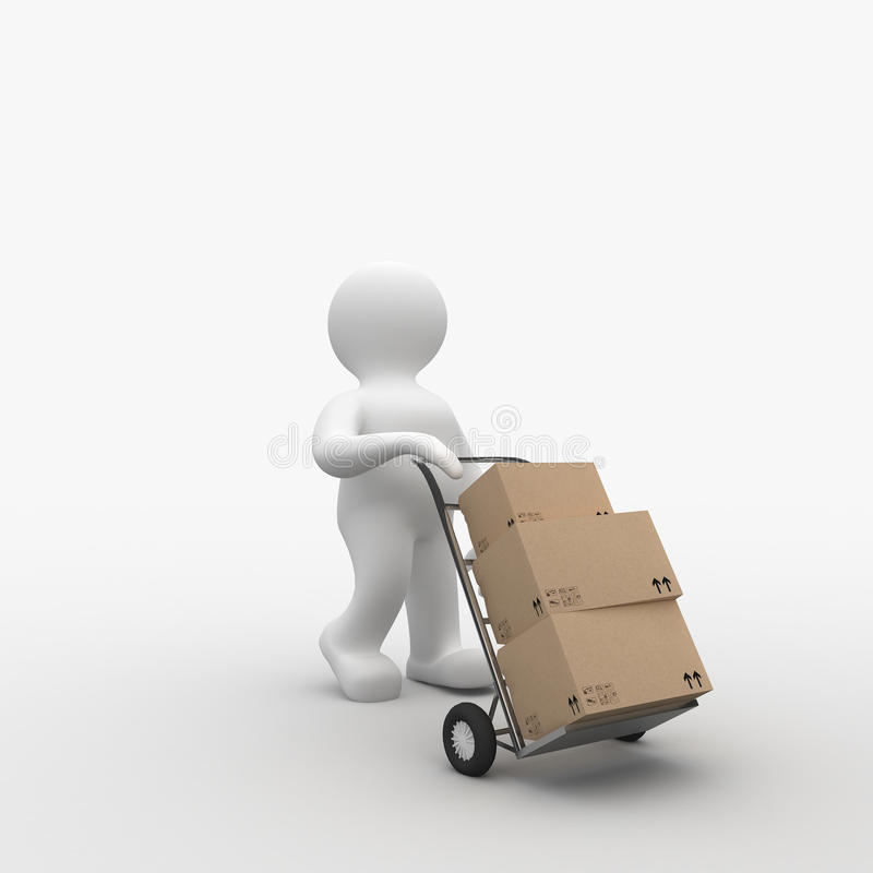 Postman Delivery. Delivery Man with boxes, high quality 3D rendering stock illustration