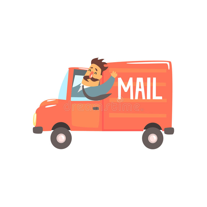 Postman Driving Red Mail Truck Smiling Stock Vector