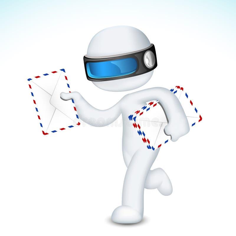 postman för kuvert 3d royaltyfri illustrationer