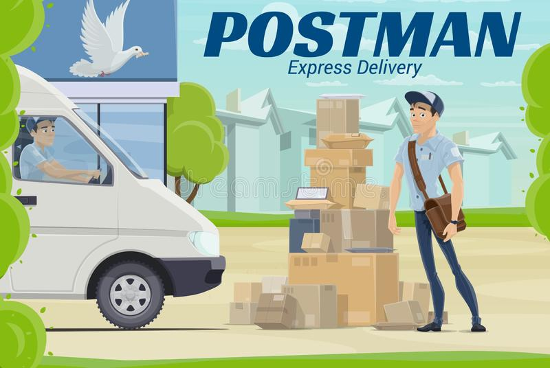 Postman and parcel near post office. Mail delivery royalty free illustration