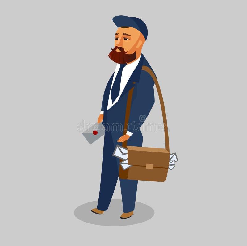 Postman in Professional Uniform Vector Clipart vector illustration