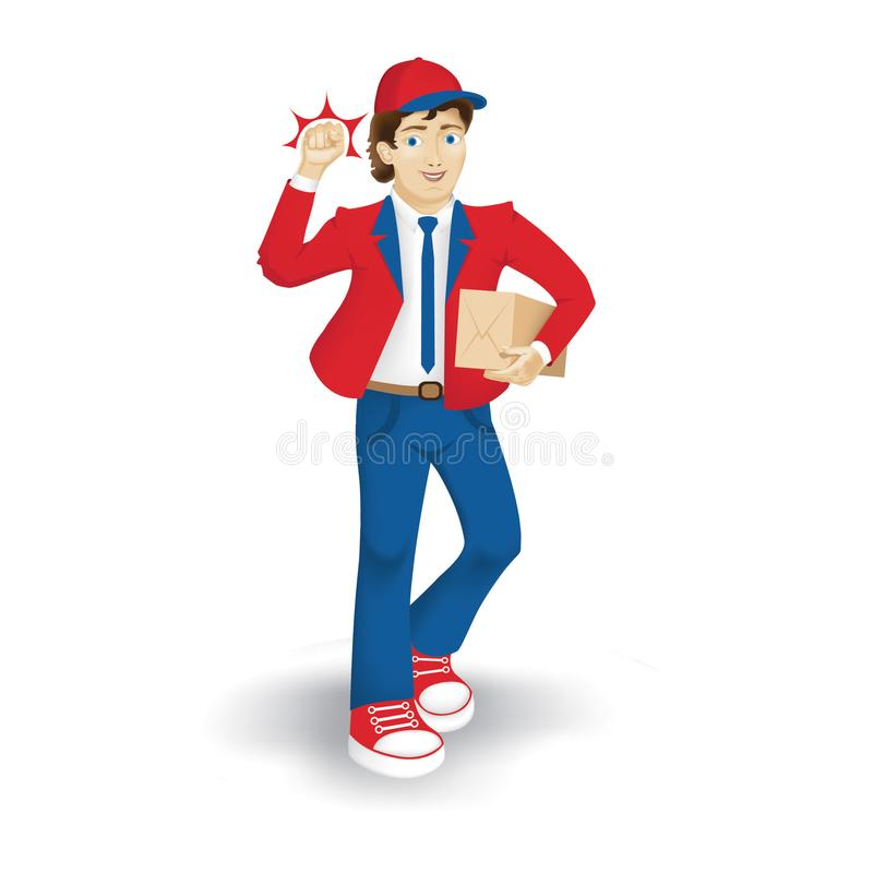 The Postman in red and blue suite stock images