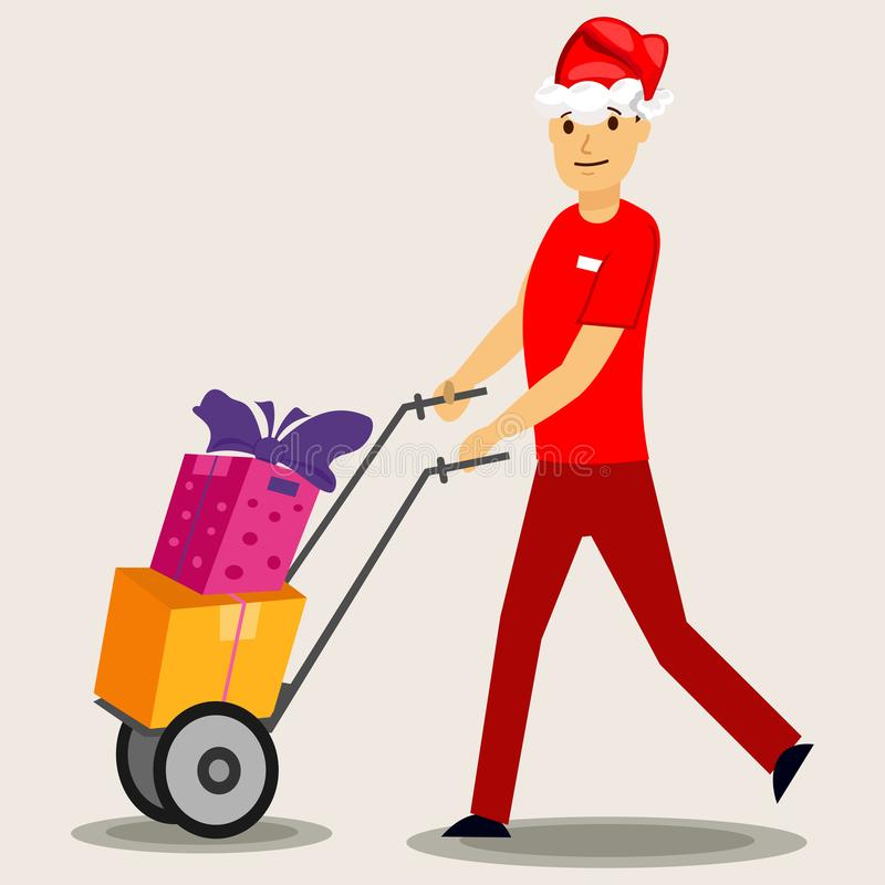 Postman in a red Santa hat and gift box. Vector. Holiday delivery stock images