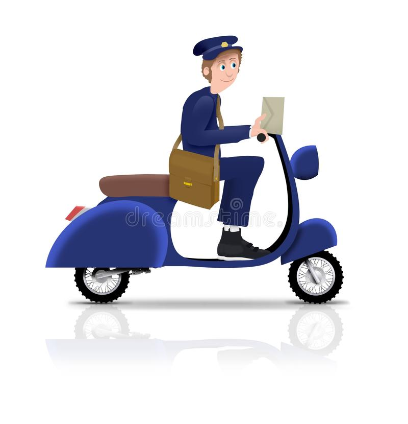 Postman on Scooter stock photos