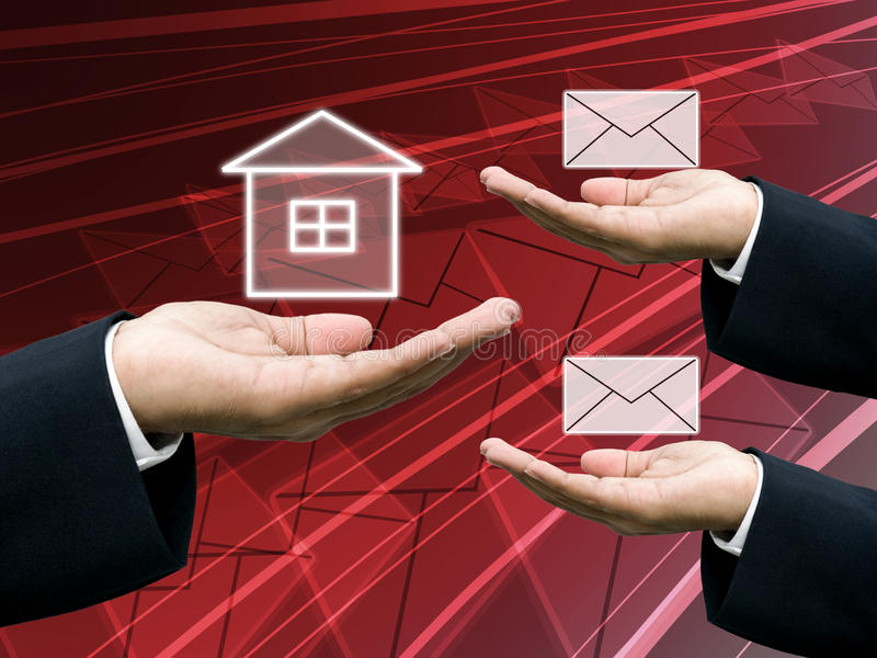 Postman send letter to home royalty free stock images