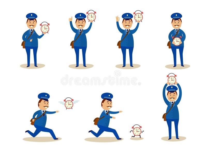 Postman with time set - adult caucasian courier in uniform holding and trying to catch wall clock. Postman with time set - adult caucasian courier in uniform vector illustration