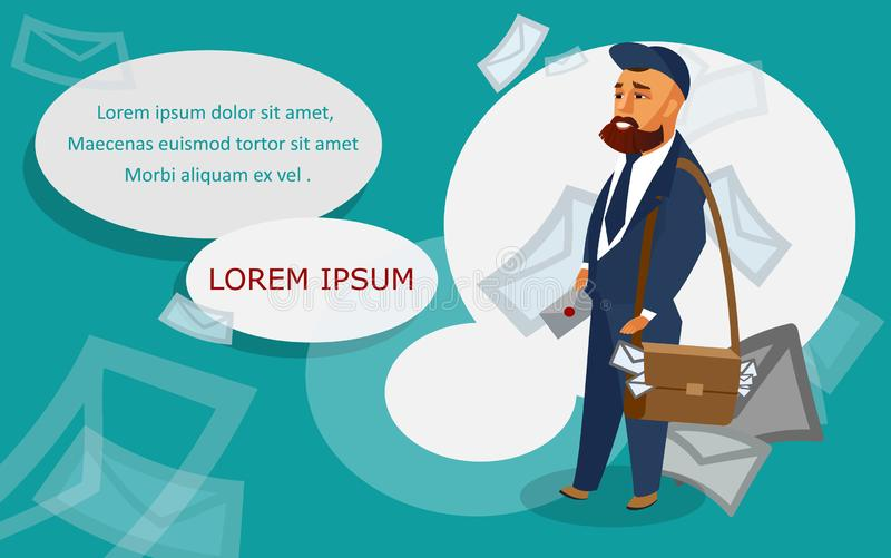 Postman Vector Banner Template with Text Space royalty free illustration