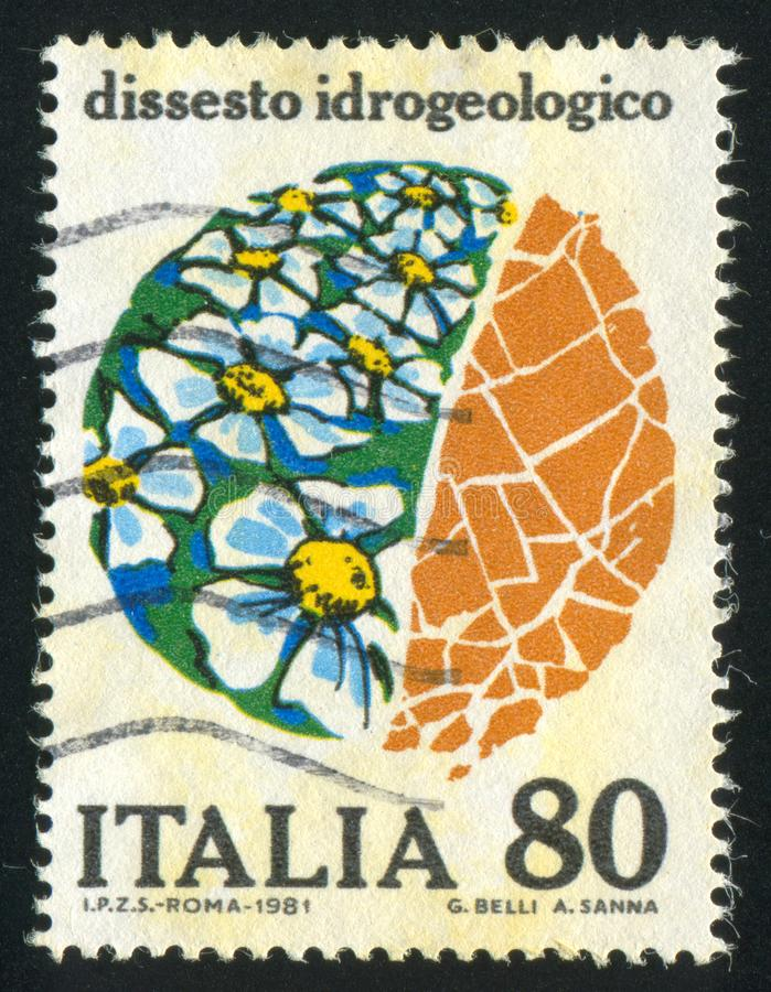 Postmark. ITALY - CIRCA 1981: stamp printed by Italy, shows Hydro-geological Research, circa 1981 stock photo