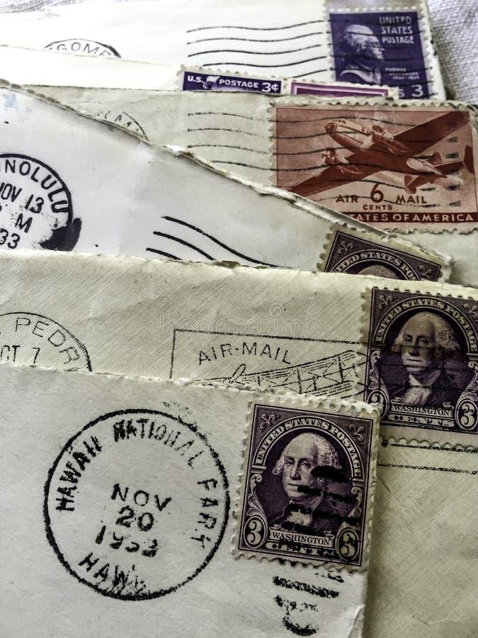 1953 postmark letters. Vintage envelopes with 1953 Hawaii postmark royalty free stock image